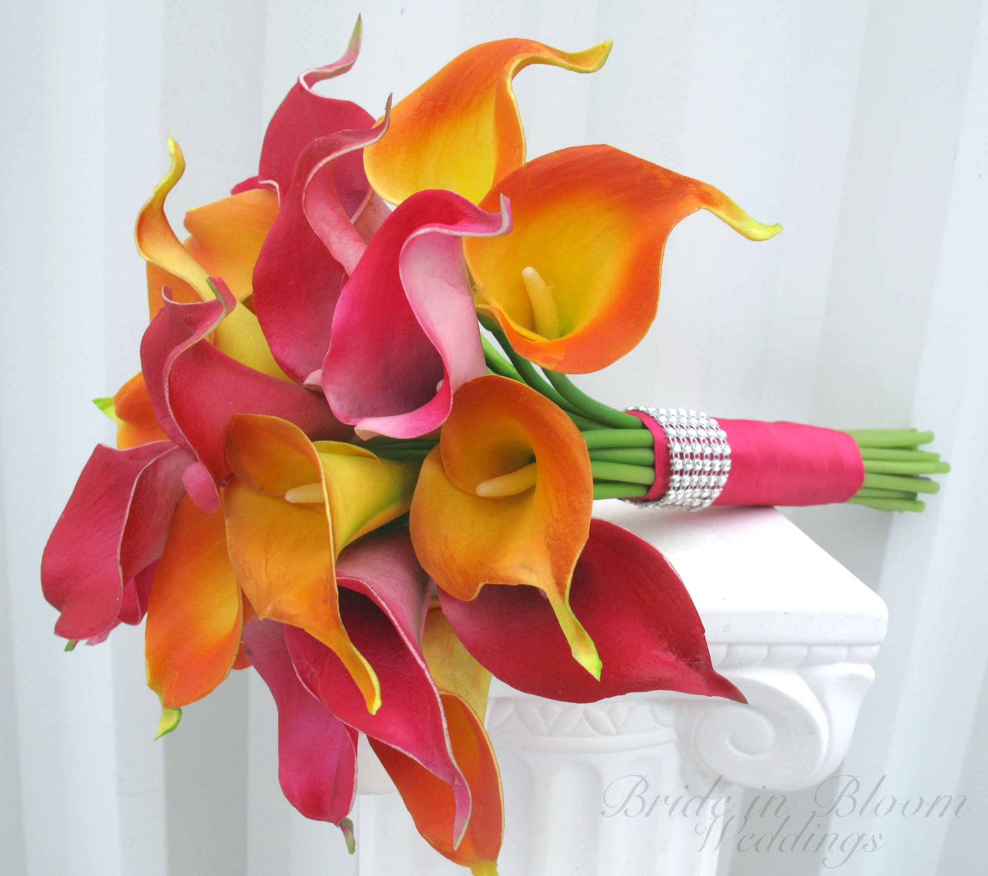 tropical wedding bouquet real touch calla lily hot pink orange, Natural flower