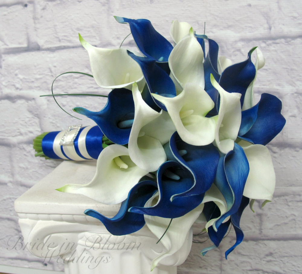 Royal Blue Picasso Calla Lily Wedding Bouquet Bride In Bloom