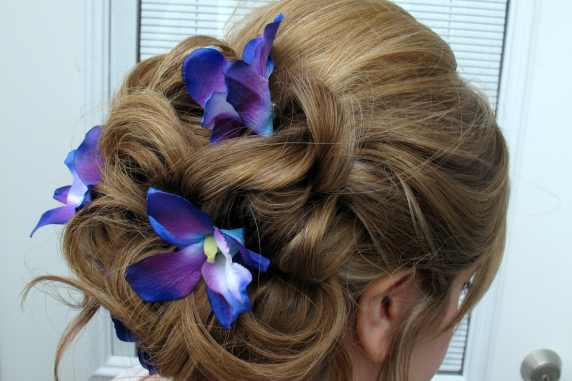 Blue purple dendrobium orchid bobby pins