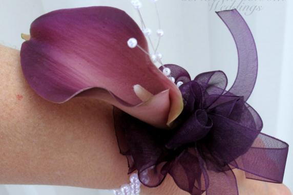 Plum purple calla lily wrist corsage