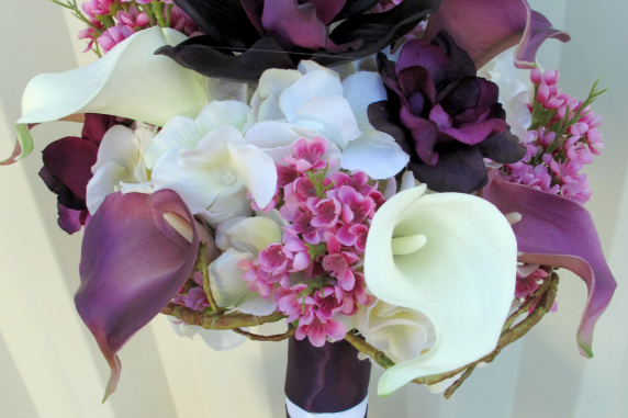 Silk Wedding Bouquets Orchids : Plum lavender wedding bouquet calla lily orchid silk