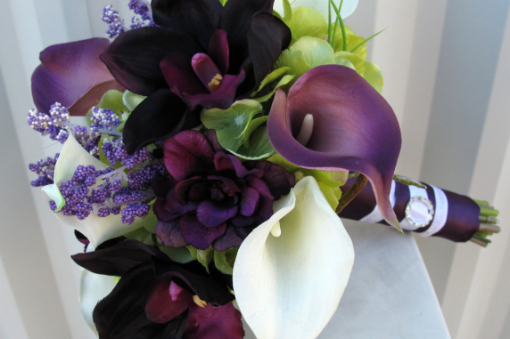 Plum calla Brides bouquet real touch calla lily orchid wedding bouquet
