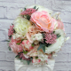 Pink cream peony rose wedding bouquet