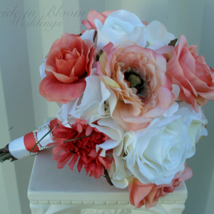 Coral white rose Wedding bouquet Silk bridal flowers