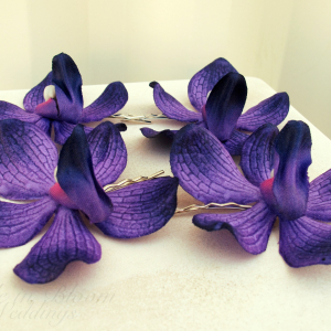 Wedding hair accessories Purple orchid bridal hair pins