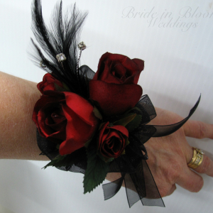 Red black rose wrist corsage