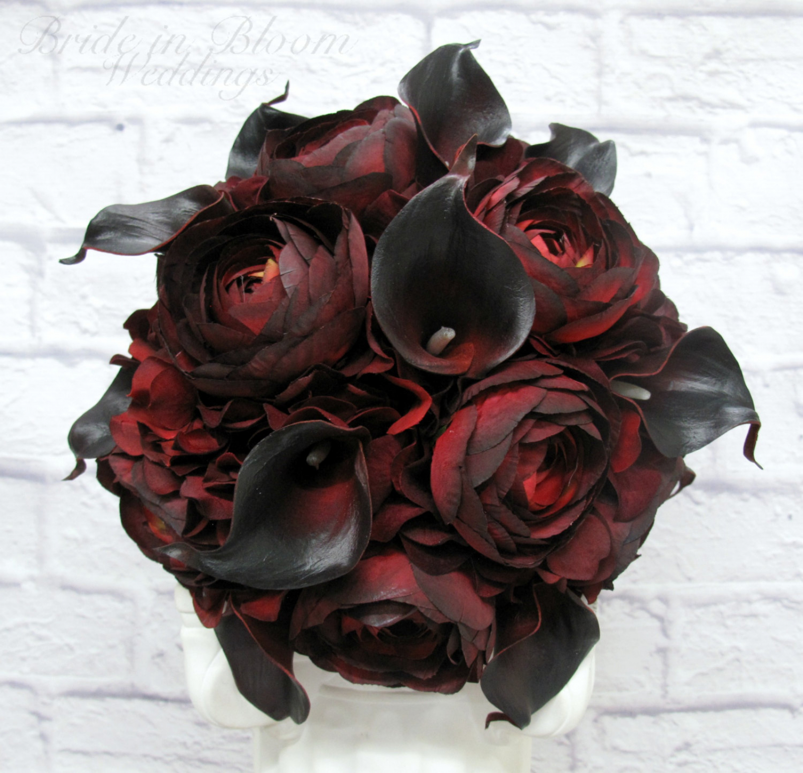 Wedding Bouquet Red Black Real Touch Calla Lily Ranunculus