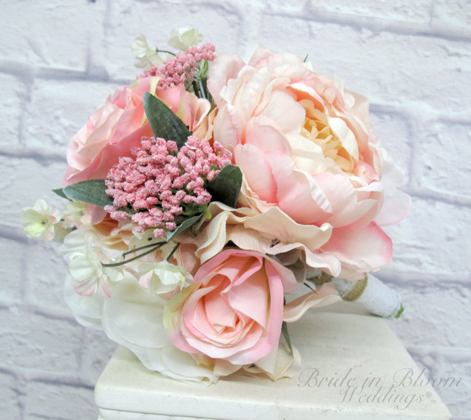 wedding bouquet blush pink and ivory garden rose peony wedding bouquet bridesmaid bouquet