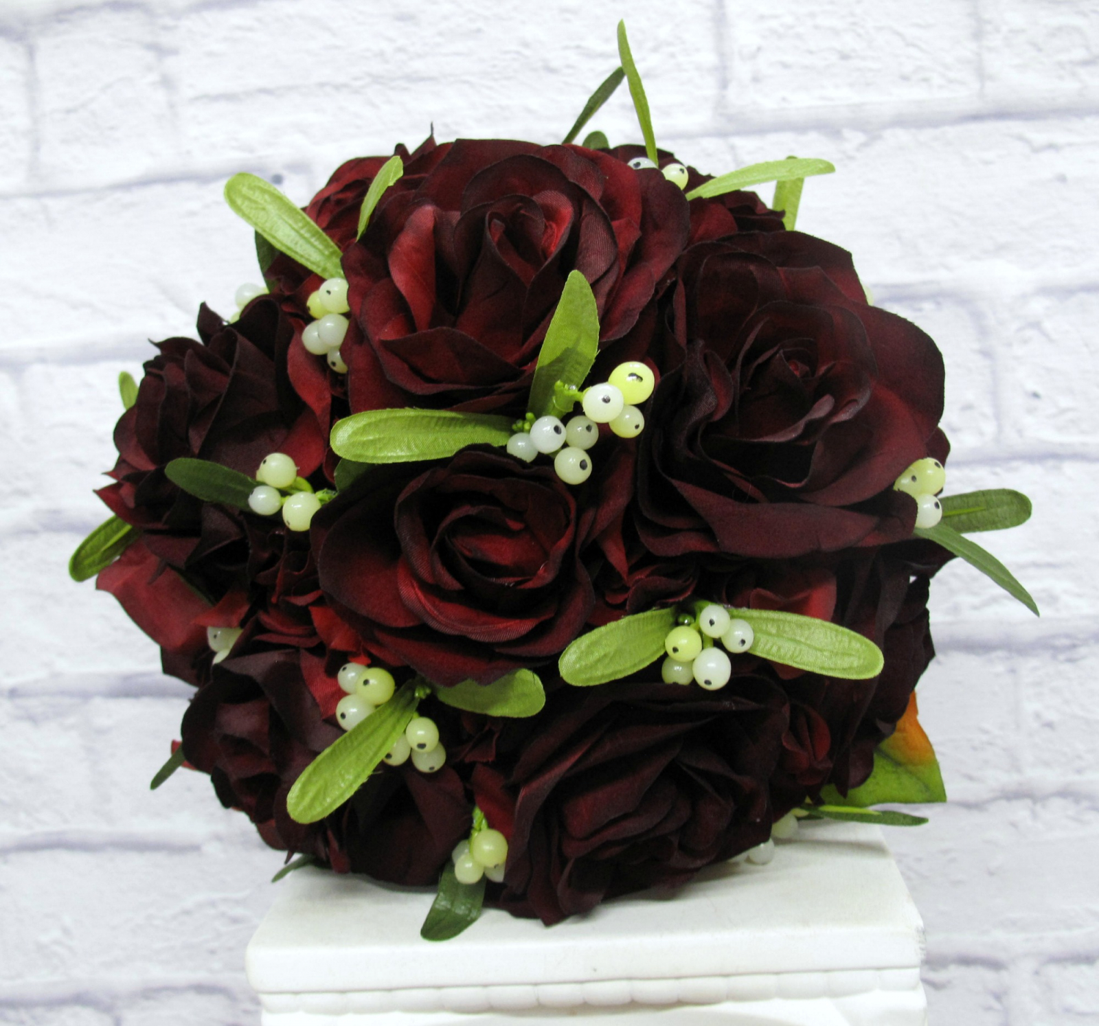 velvet red rose mistletoe wedding bouquet bride in bloom. Black Bedroom Furniture Sets. Home Design Ideas
