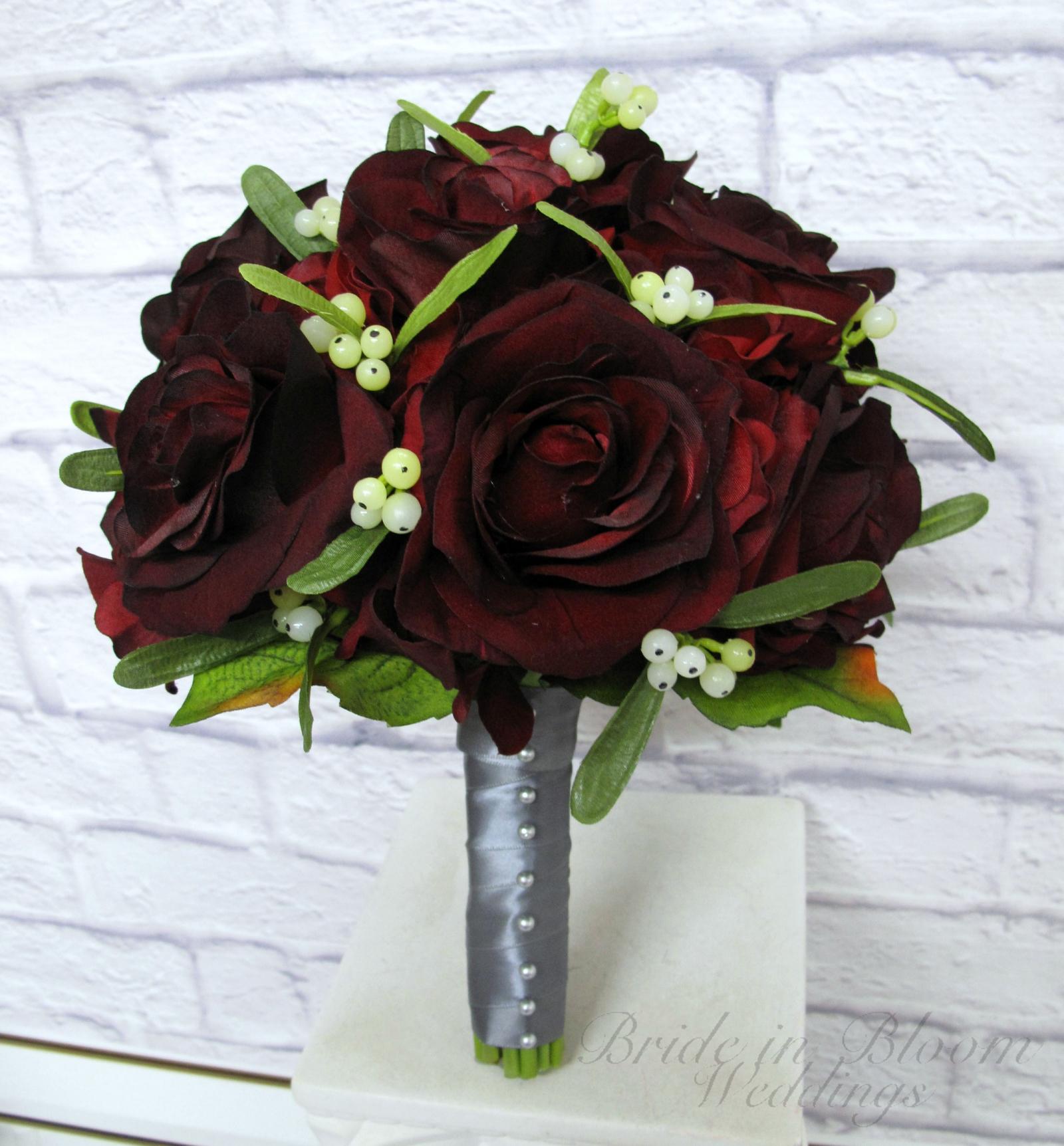 velvet red rose bride bouquet black baccara roses mistletoe wedding bouquet