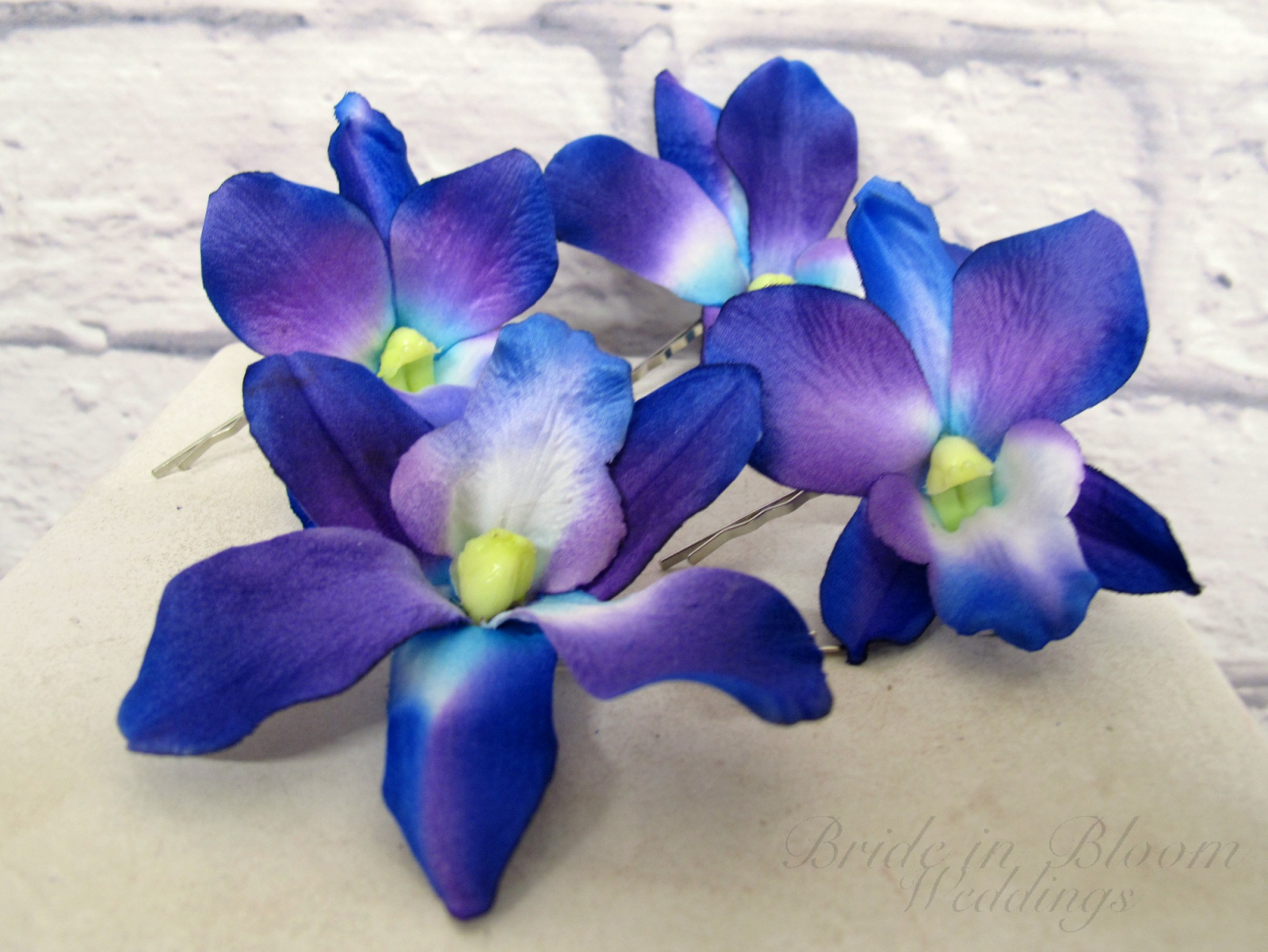 Wedding hair accessories blue purple dendrobium orchid bobby pins blue purple dendrobium orchid bobby pins izmirmasajfo