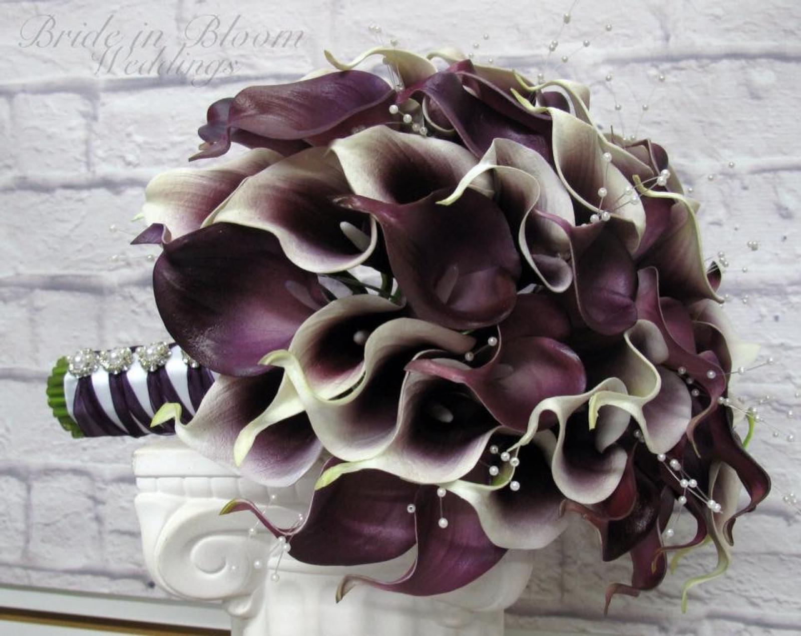 Cascading wedding bouquet plum calla lily real touch wedding cascading wedding bouquet plum calla lily cascade bouquet real touch wedding flowers izmirmasajfo