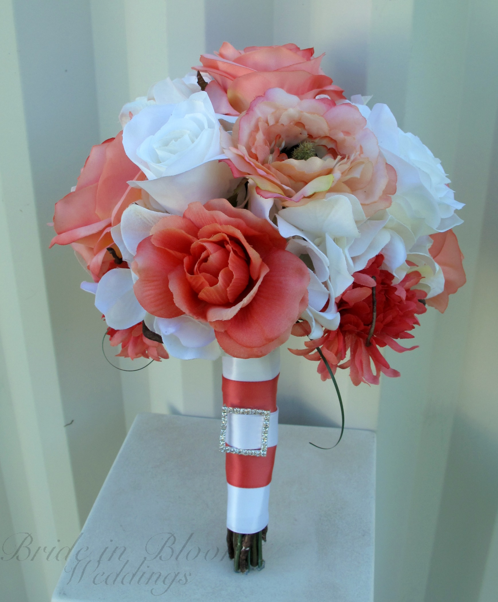 Coral White Rose Wedding Bouquet Silk Bridal Flowers Bride In Bloom