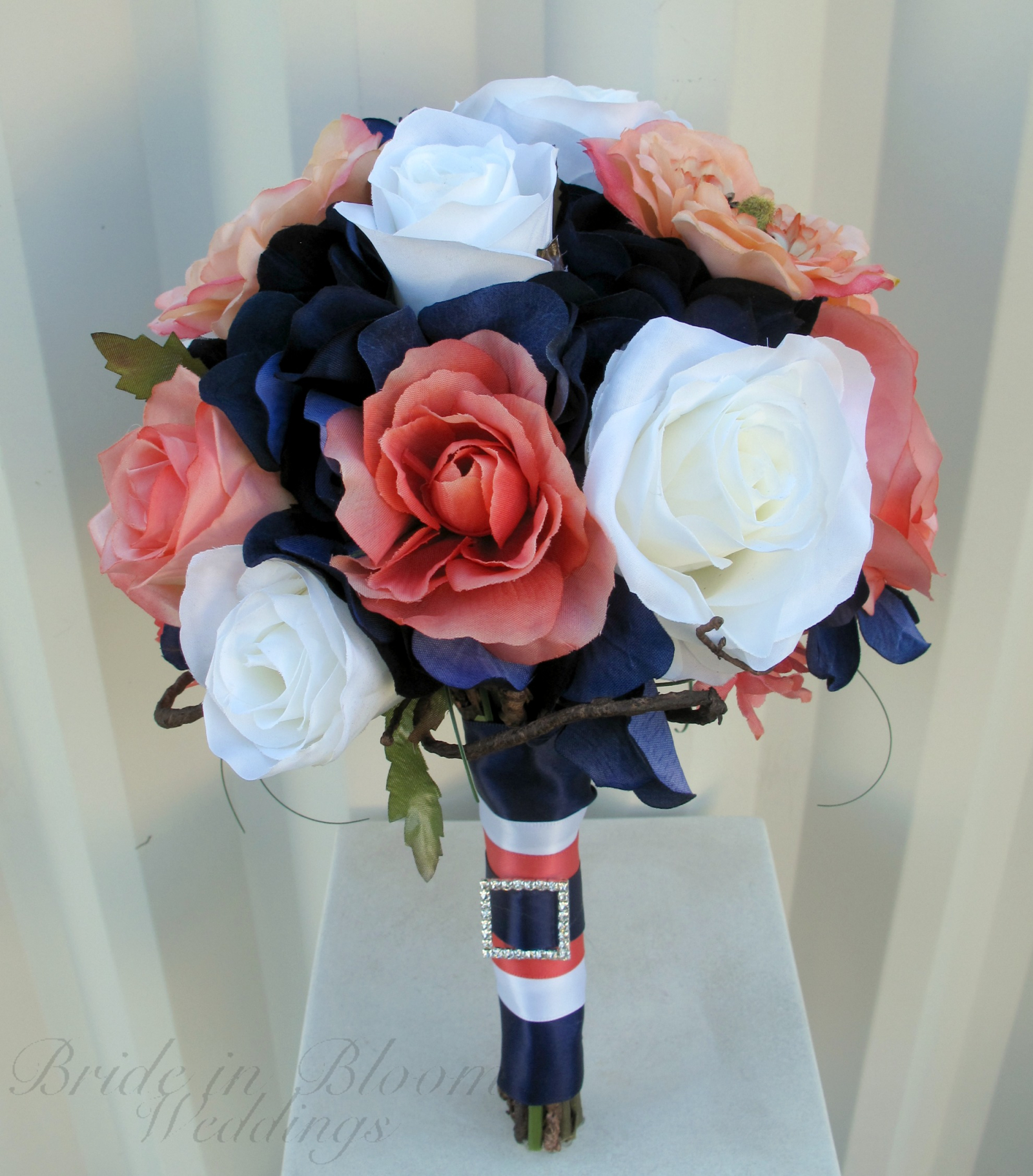 Coral Navy White Rose Wedding Bouquet Bride In Bloom