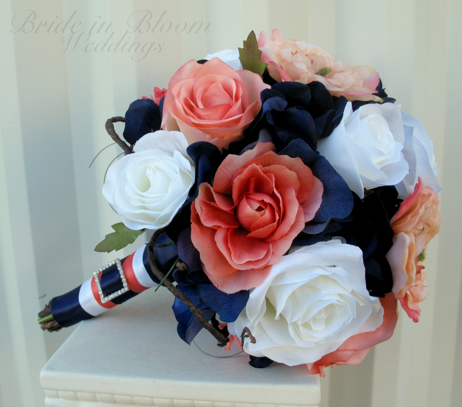 Coral Navy White Rose Wedding Bouquet Bride In Bloom