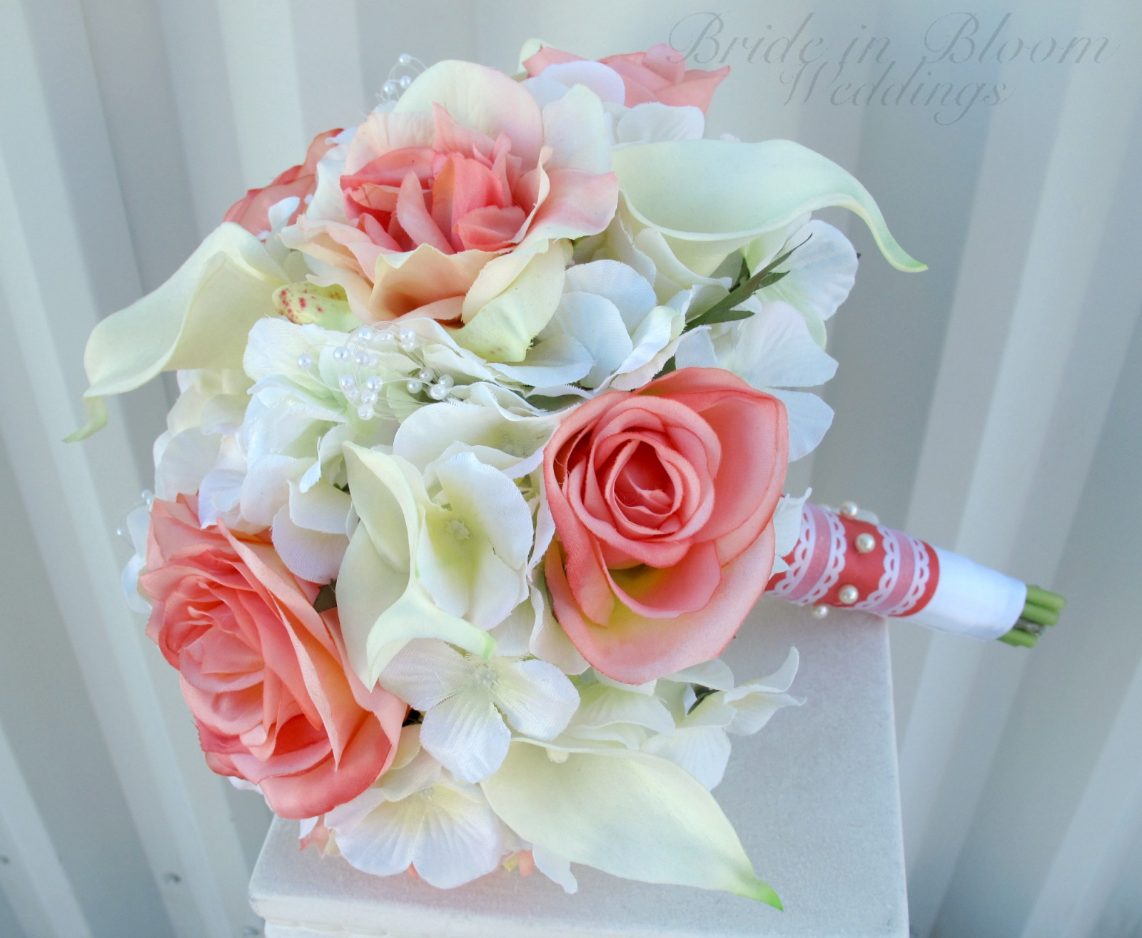 Coral rose calla lily wedding bouquet bride in bloom wedding bouquet coral calla lily orchid bridal bouquet izmirmasajfo