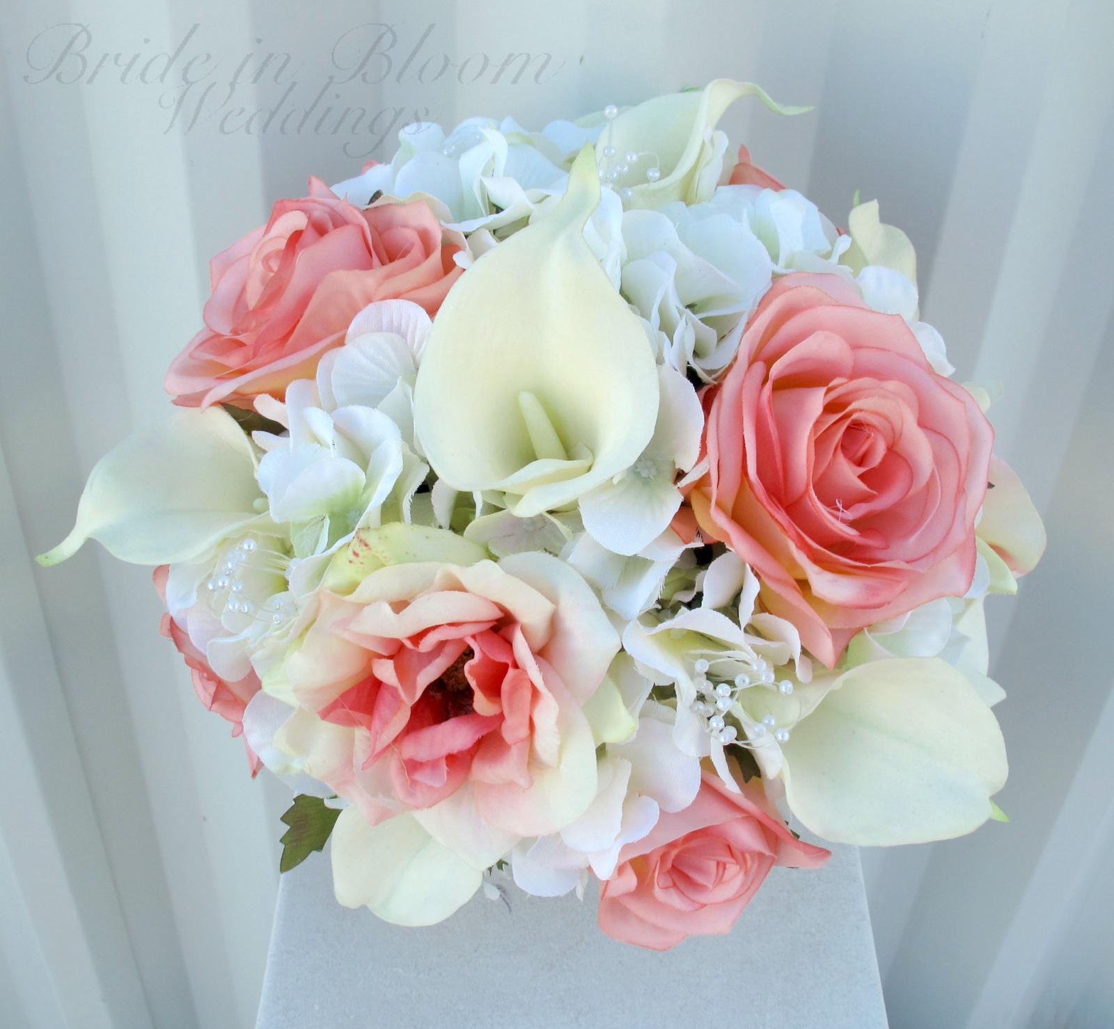 Coral Rose Calla Lily Wedding Bouquet Bride In Bloom
