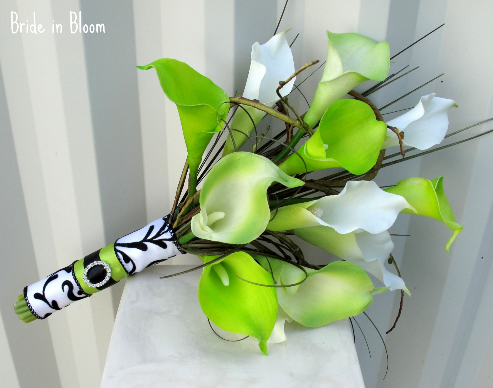 Lime green white calla lily wedding bouquet   Bride in Bloom
