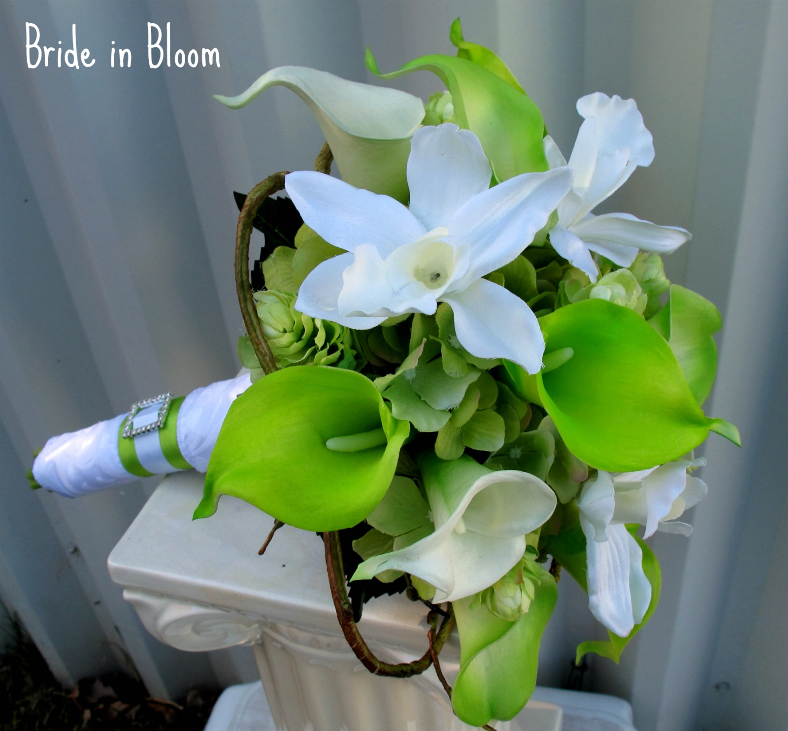 Lime Green White Calla Lily Orchid Bridal Bouquet Bride In Bloom