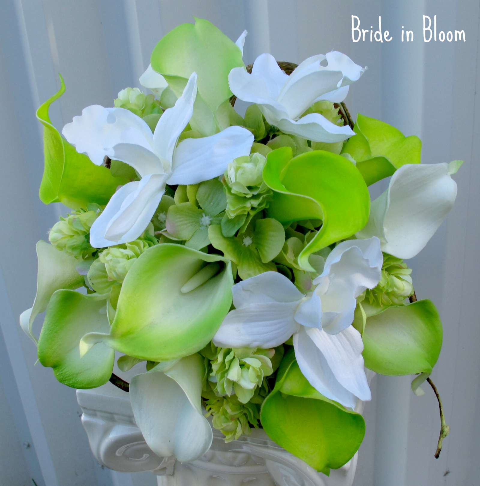Lime green white calla lily orchid bridal bouquet bride in bloom lime green white calla lily orchid bridal bouquet silk wedding flowers mightylinksfo
