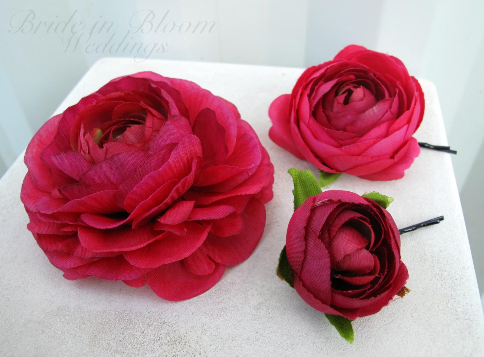 Wedding Hair Accessories Hot Pink Flower Hair Pins Bride In Bloom