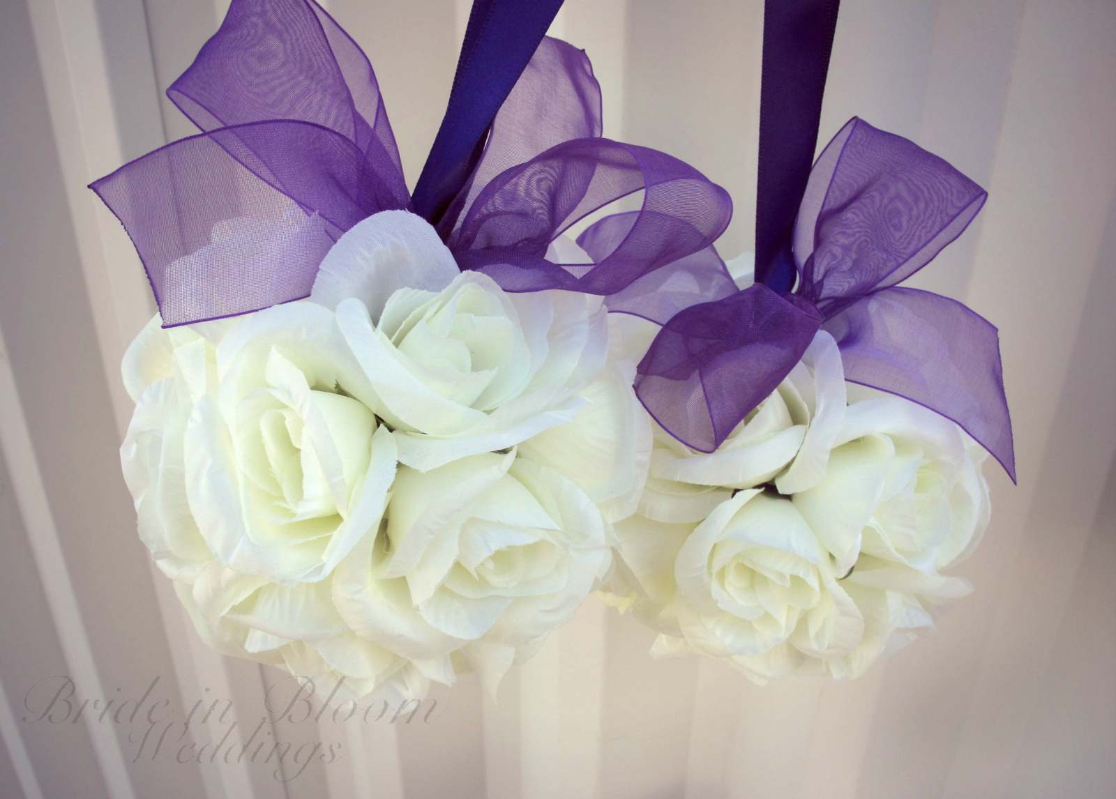 Wedding Pomander Purple And White Kissing Ball Bride In Bloom