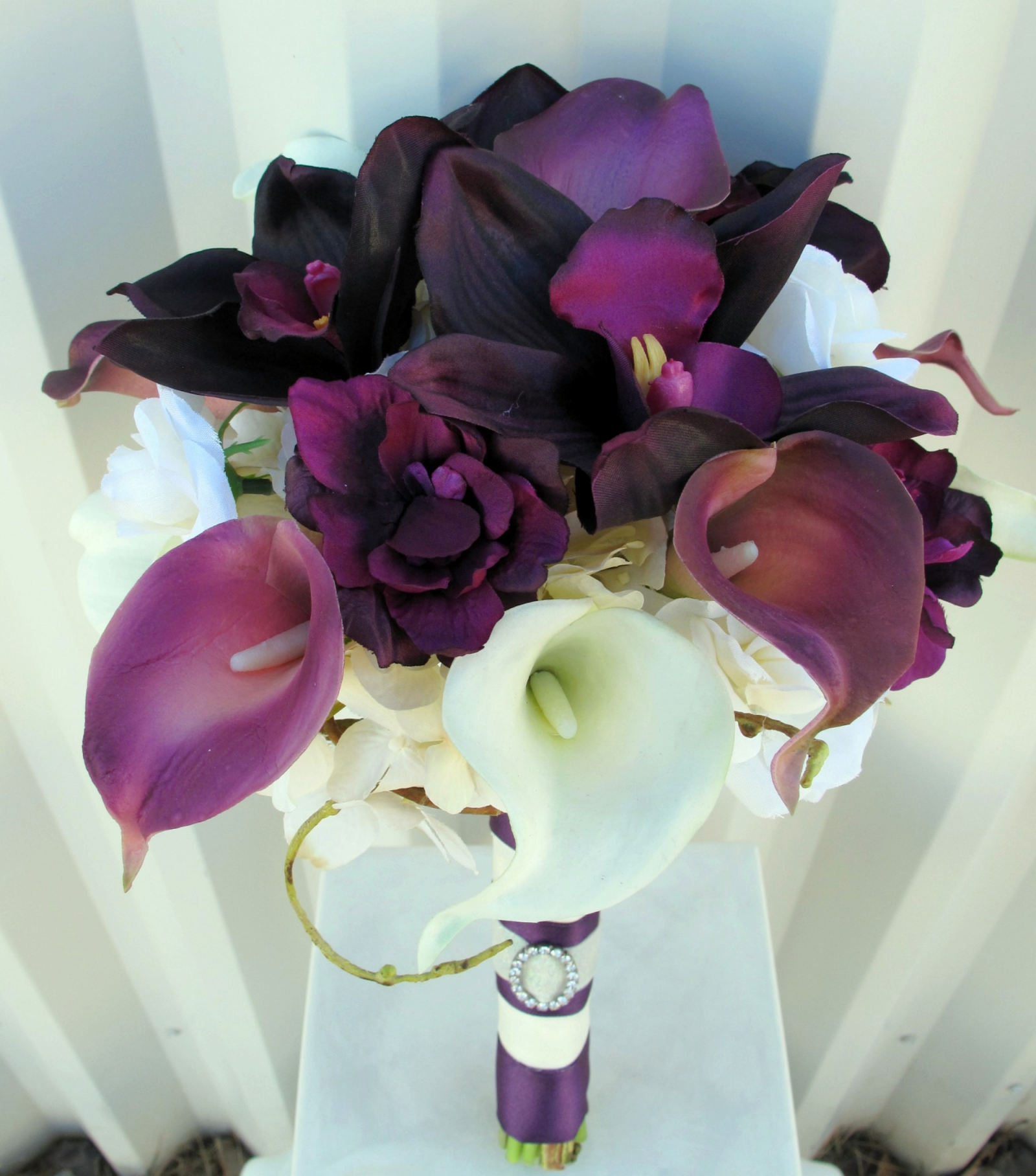 Plum wedding bouquet real touch calla lily orchid bridal bouquet plum wedding bouquet real touch calla lily orchid bridal bouquet izmirmasajfo