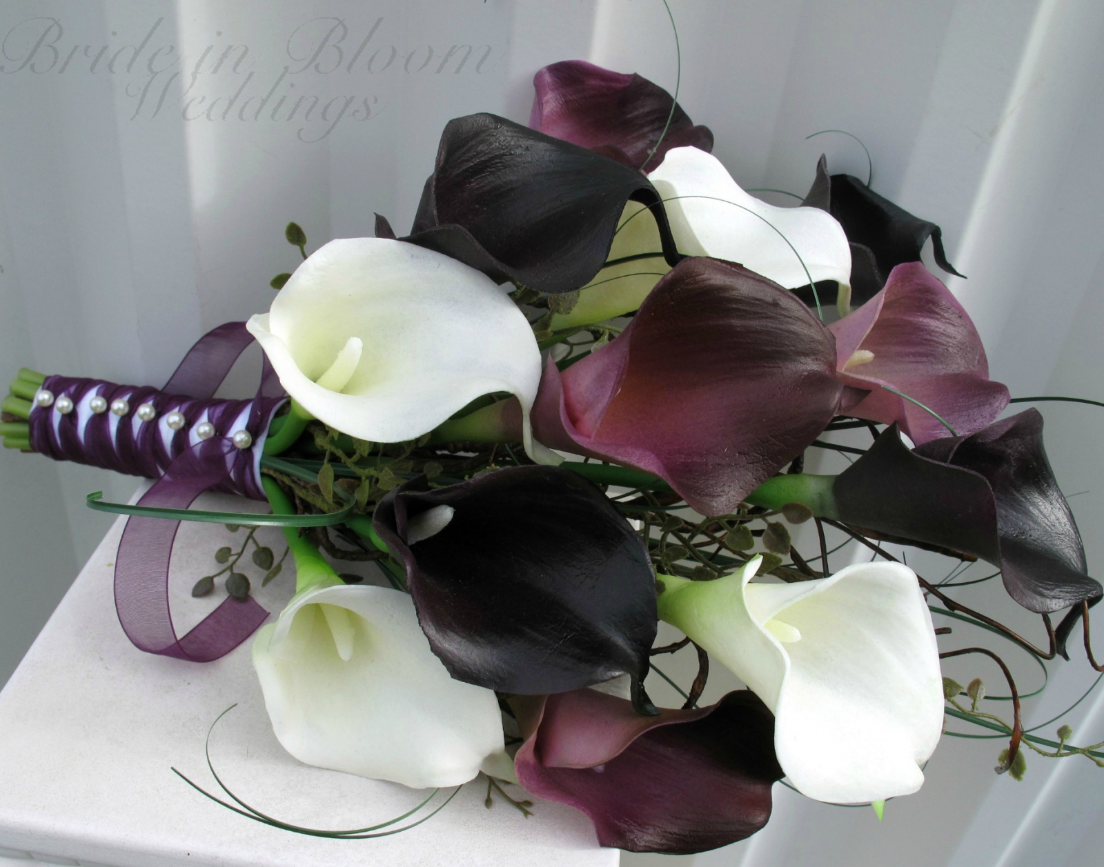 Wedding bouquet dark plum purple white calla lily bridal bouquet wedding bouquet real touch dark plum purple white calla lily bridal bouquet izmirmasajfo