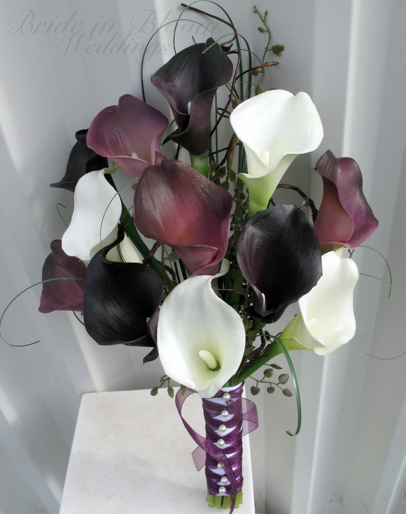 Wedding bouquet dark plum purple white calla lily bridal bouquet wedding bouquet real touch dark plum purple white calla lily bridal bouquet mightylinksfo