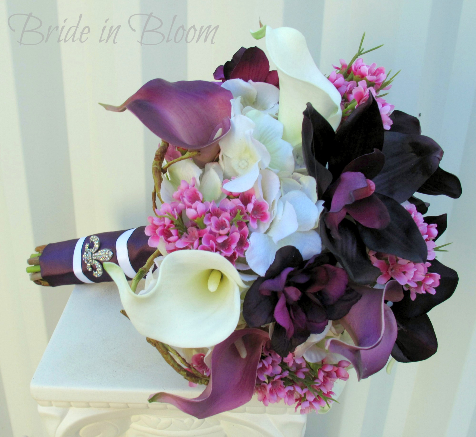 Plum lavender Wedding bouquet calla lily orchid silk wedding flowers ...