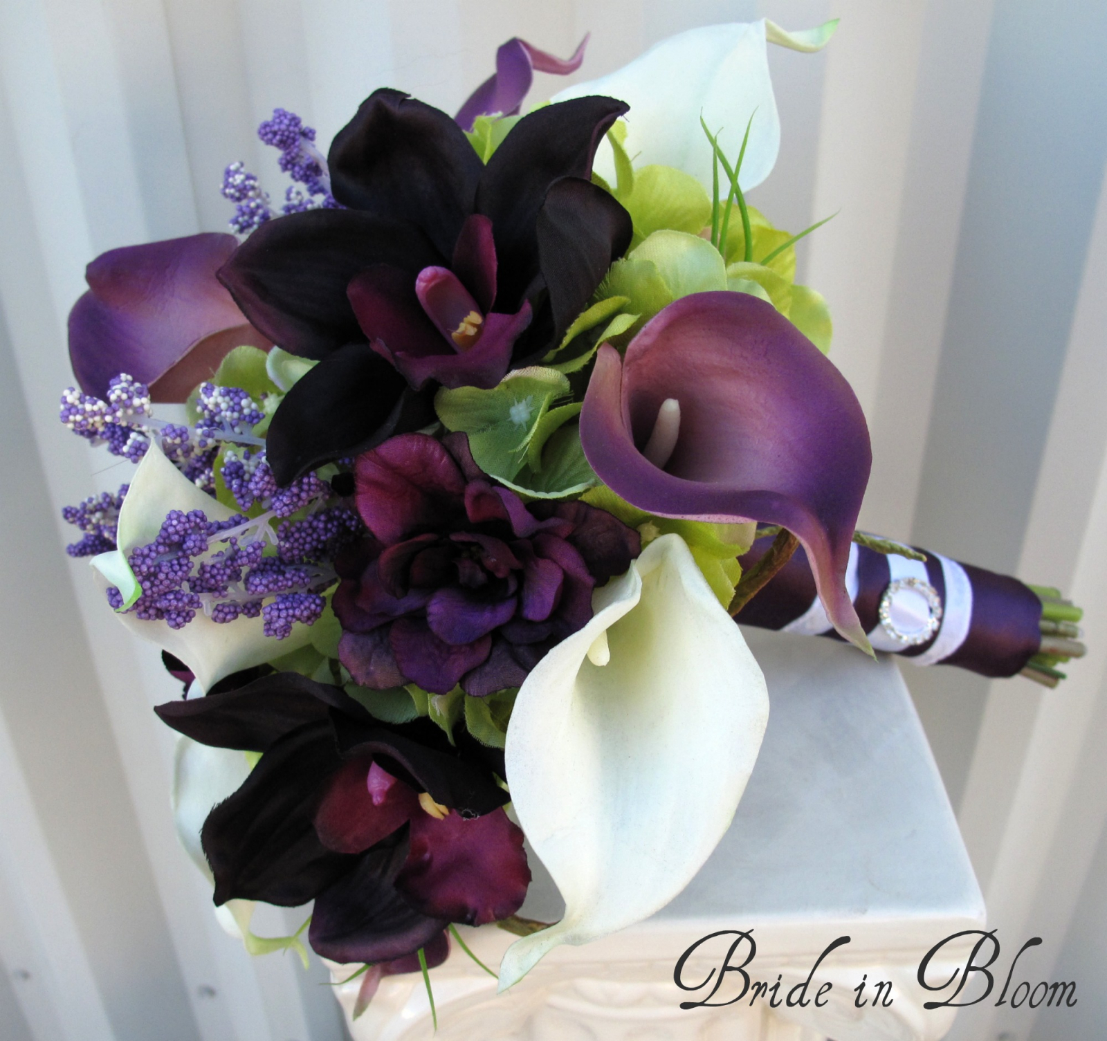 Plum Calla Brides Bouquet Real Touch Calla Lily Orchid Wedding
