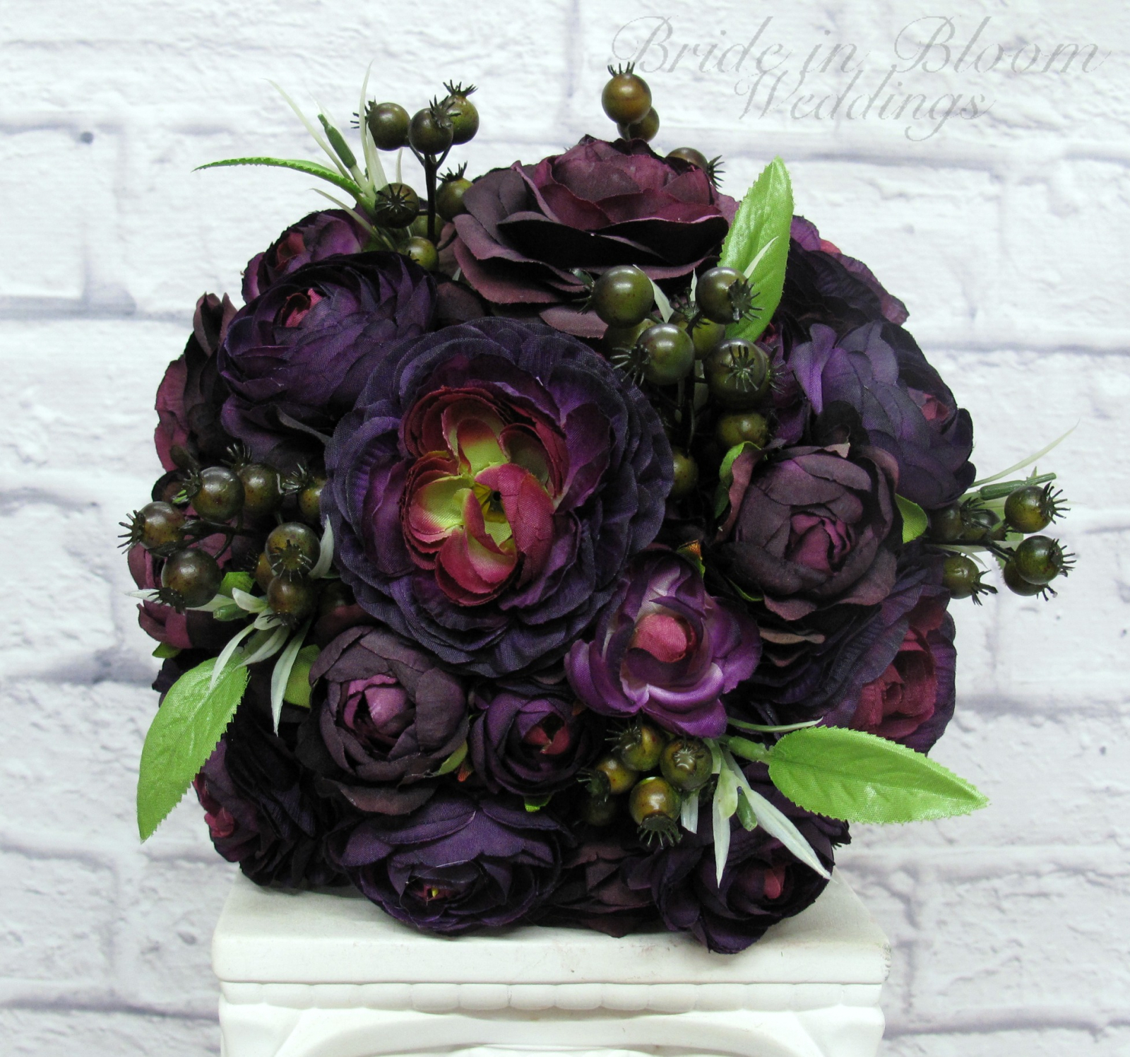 Purple ranunculus wedding bouquet bride in bloom purple ranunculus wedding bouquet silk flower bridal bouquet izmirmasajfo