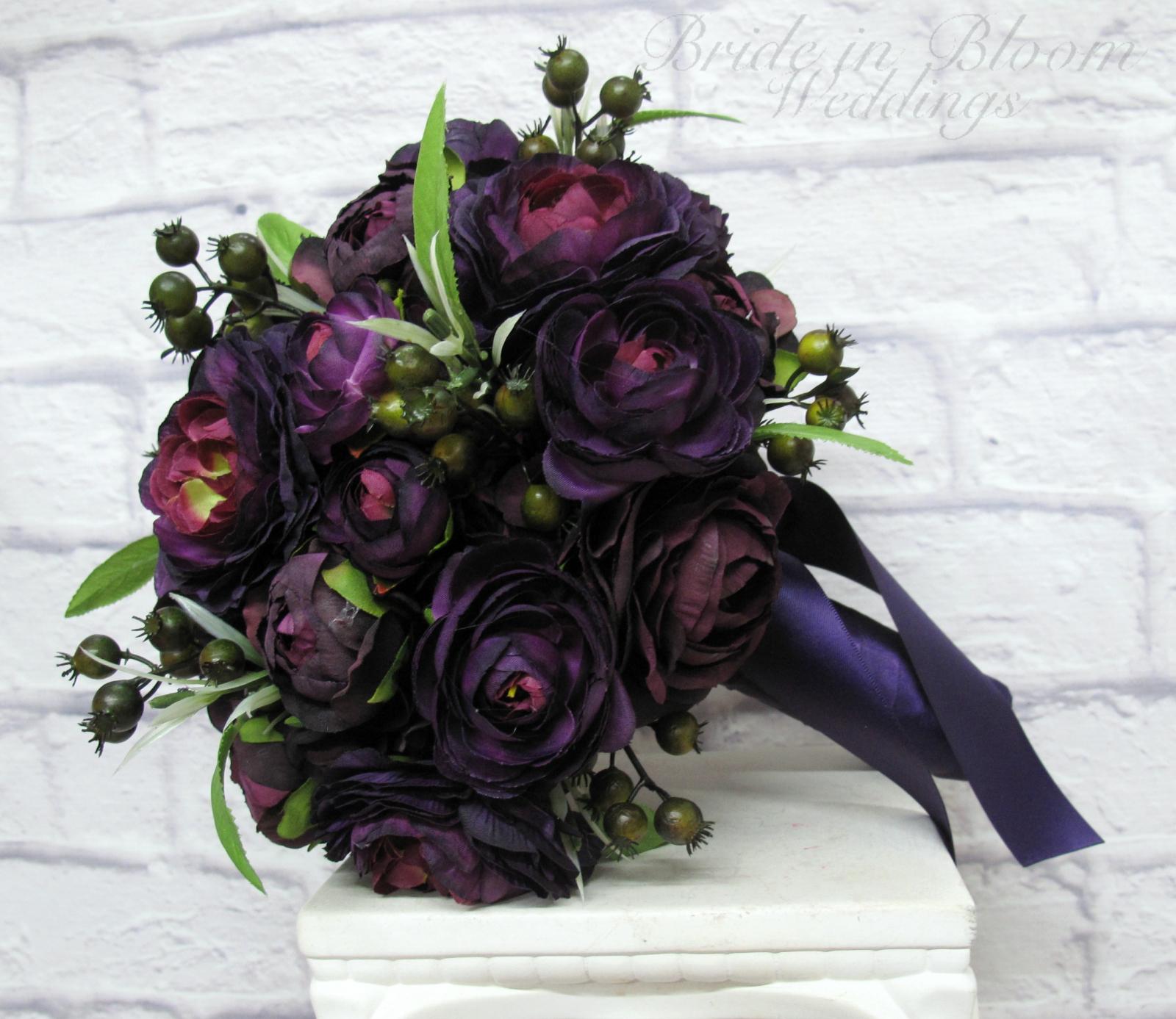 Purple ranunculus wedding bouquet bride in bloom purple ranunculus wedding bouquet silk flower bridal bouquet izmirmasajfo