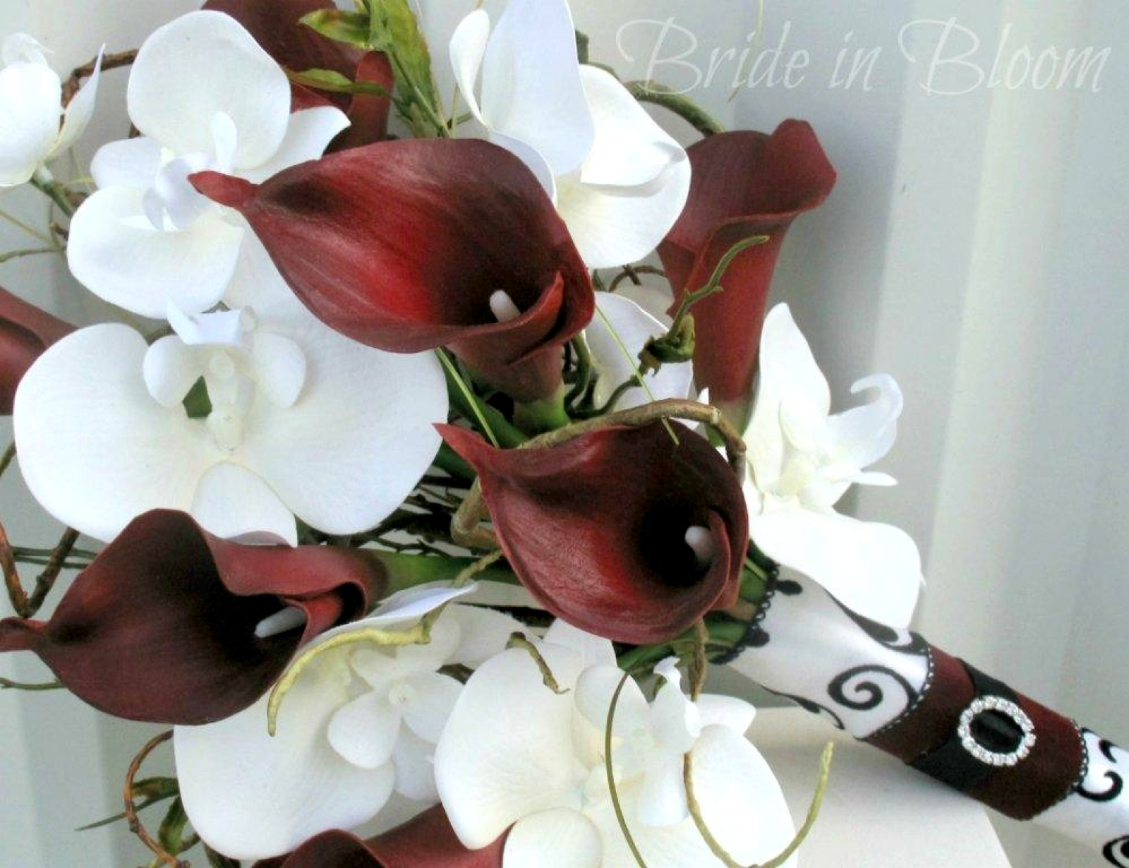 Red calla lily white orchid wedding bouquet bride in bloom red calla lily white orchid wedding bouquet silk bridal flowers izmirmasajfo