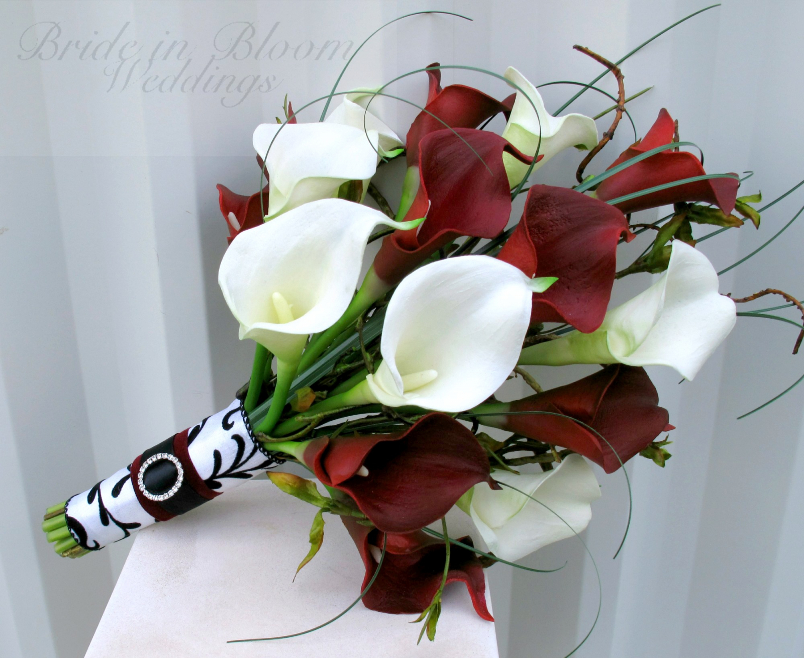 Red white calla lily wedding bouquet bride in bloom wedding bouquet real touch red white calla lily bridal bouquet damask weddings mightylinksfo Choice Image