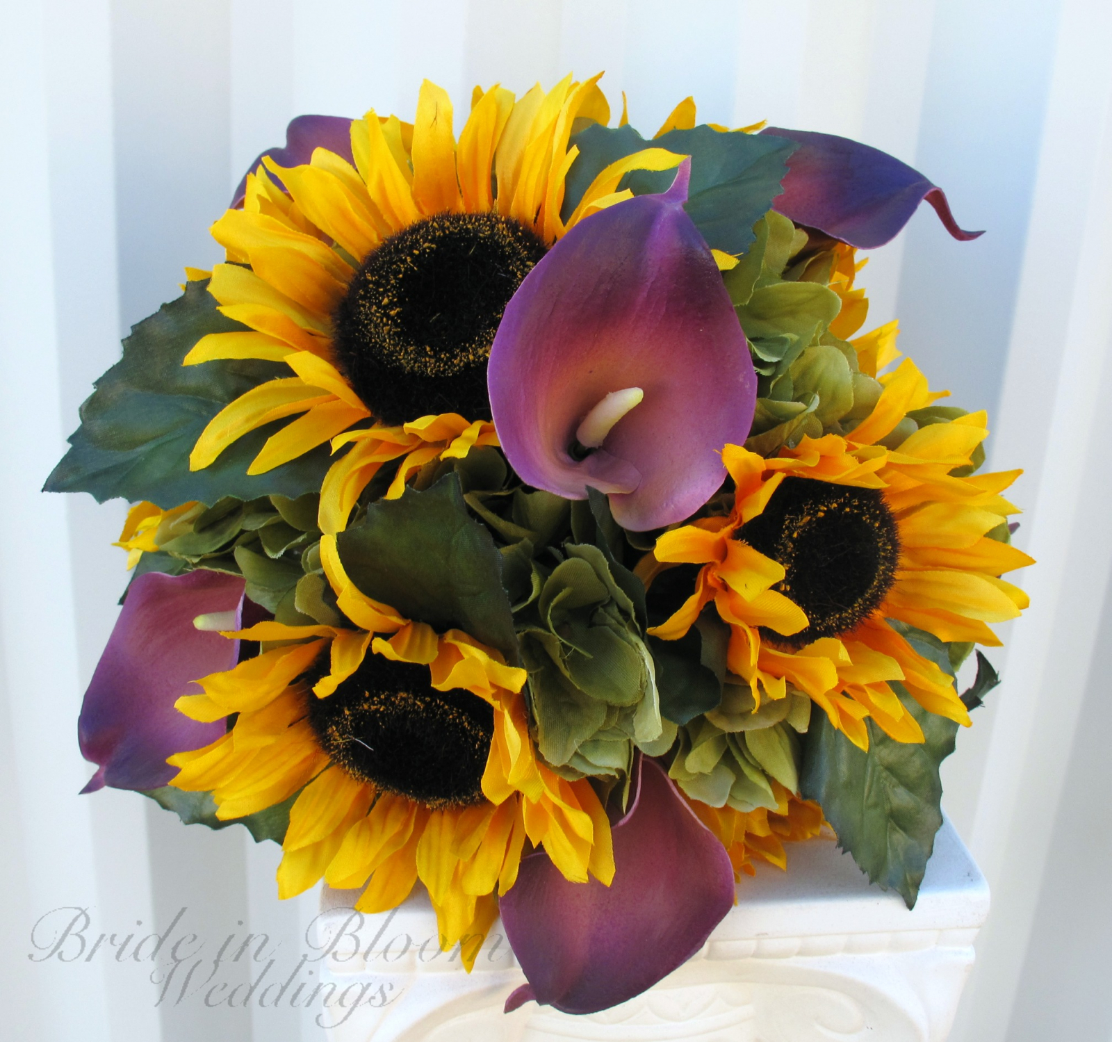 bridal bouquet sunflower purple calla lily silk wedding flowers