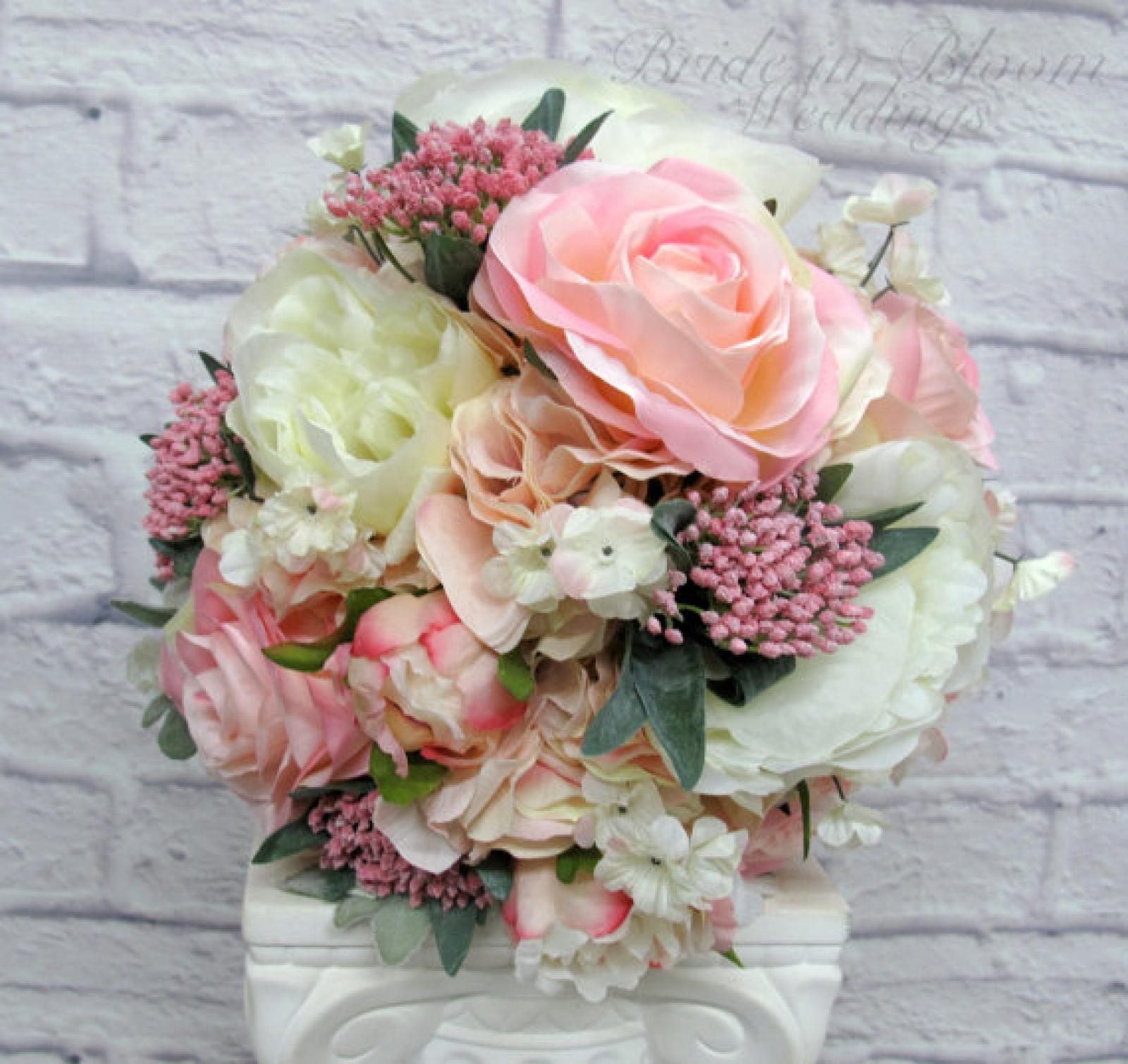 Pink Cream Peony Rose Wedding Bouquet Bride In Bloom