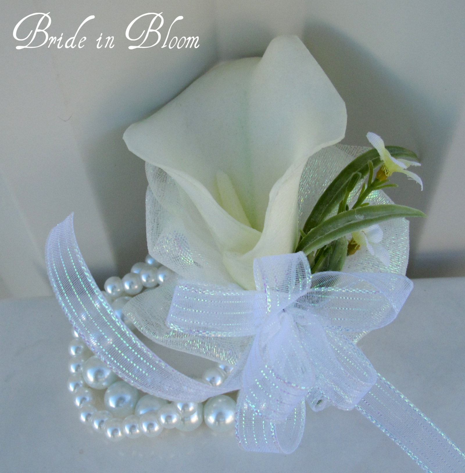 Calla Lily Wrist Corsage Ivory Or White Pearl Bracelet Bride In Bloom