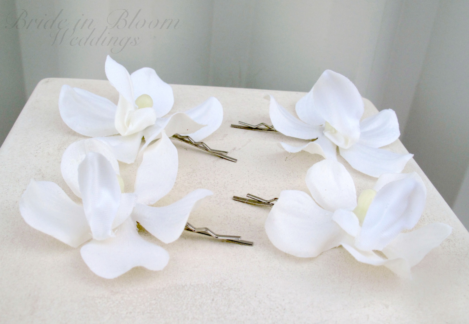 Wedding Hair Accessories White Orchid Hair Pins Bride In Bloom