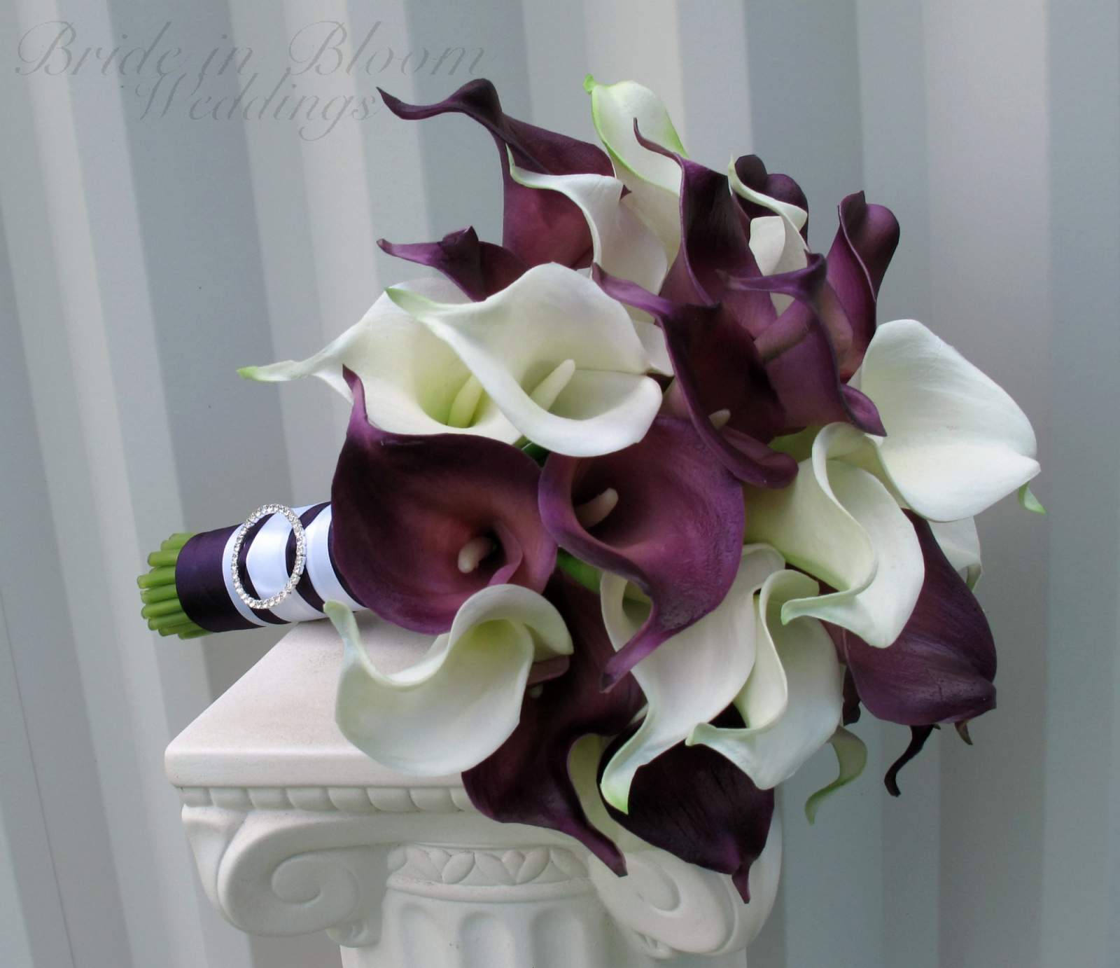 Calla lily Wedding bouquet, plum white real touch wedding flowers ...