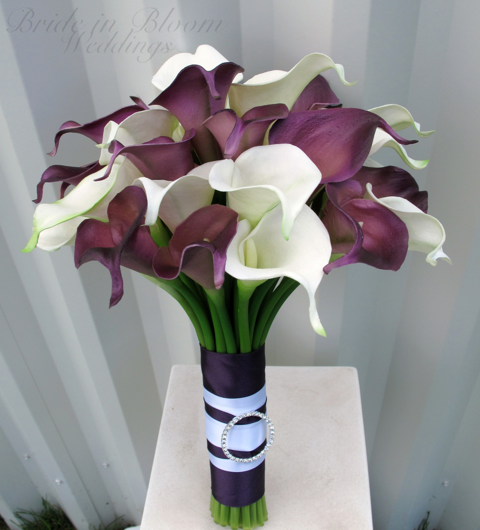 Calla Lily Wedding Bouquet Plum White Real Touch Flowers