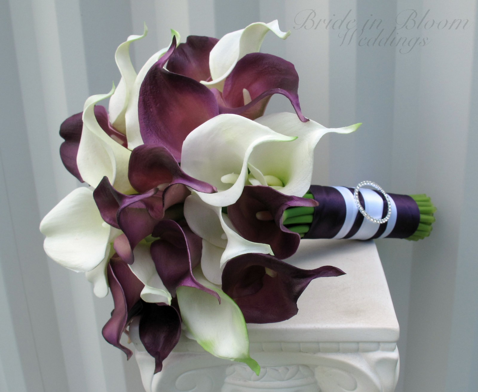 calla lily wedding bouquet plum white real touch wedding