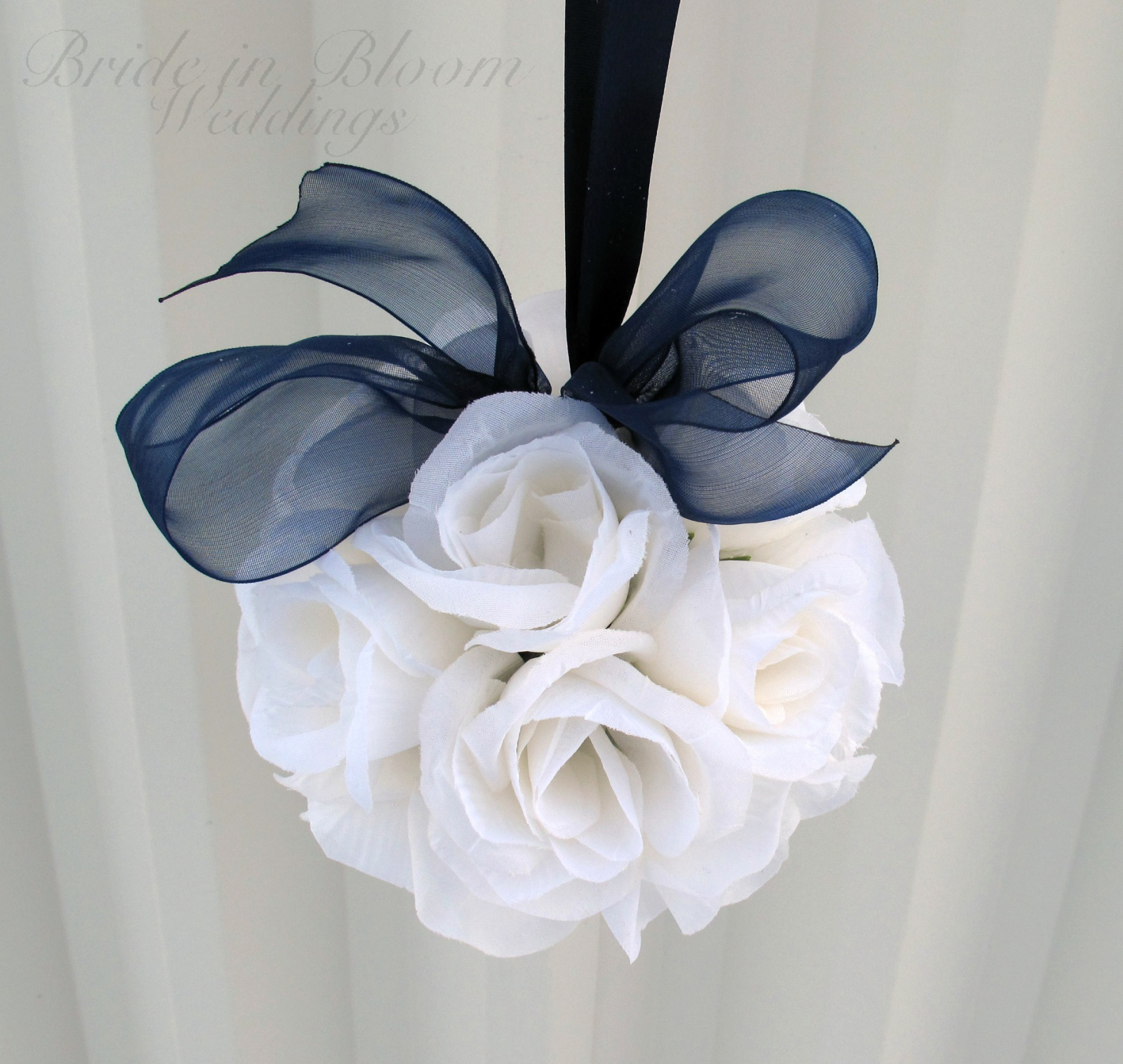 Wedding Pomander Navy Blue And White Kissing Ball Bride In Bloom