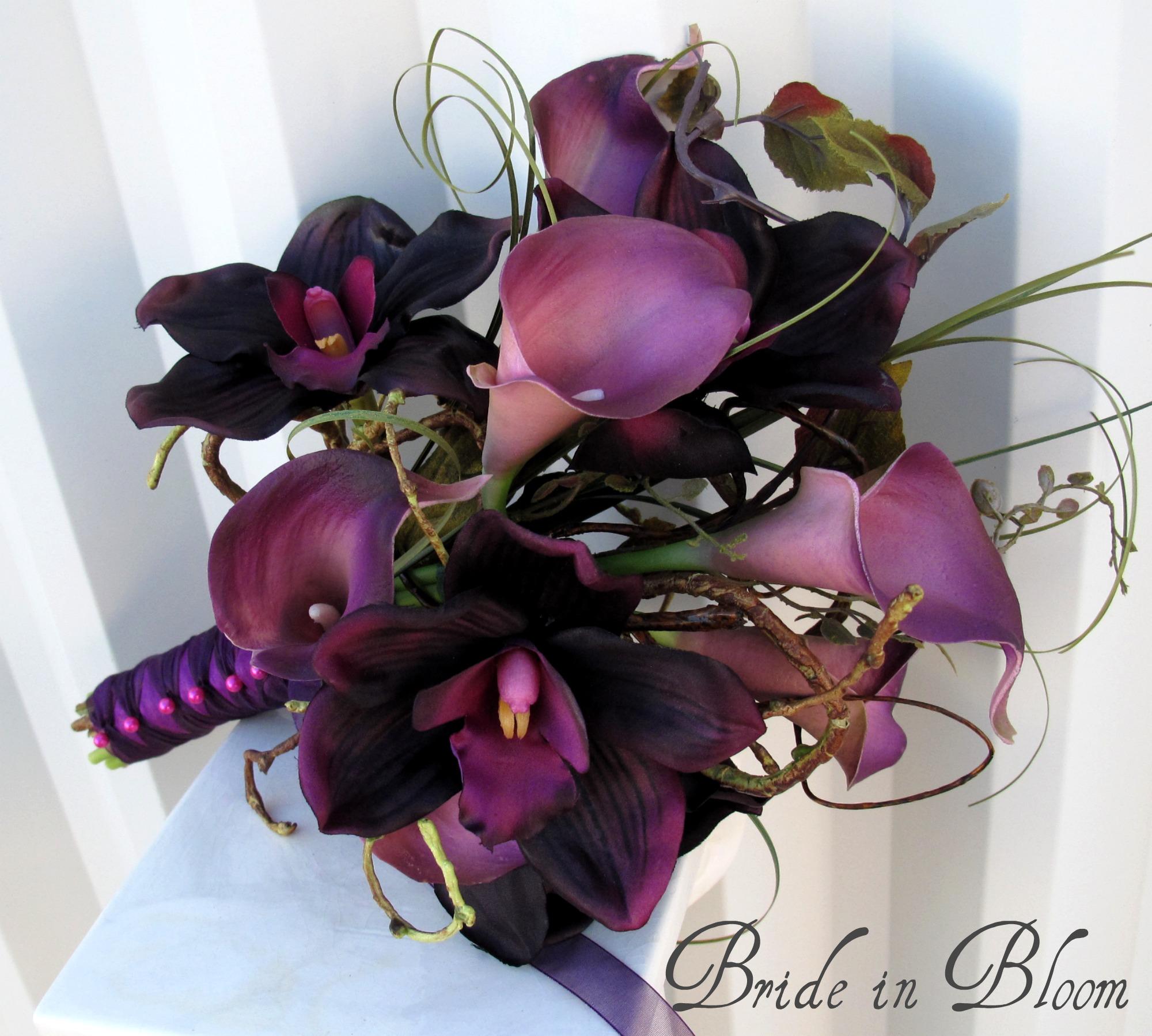 Bride in bloom shop plum wedding bouquet izmirmasajfo