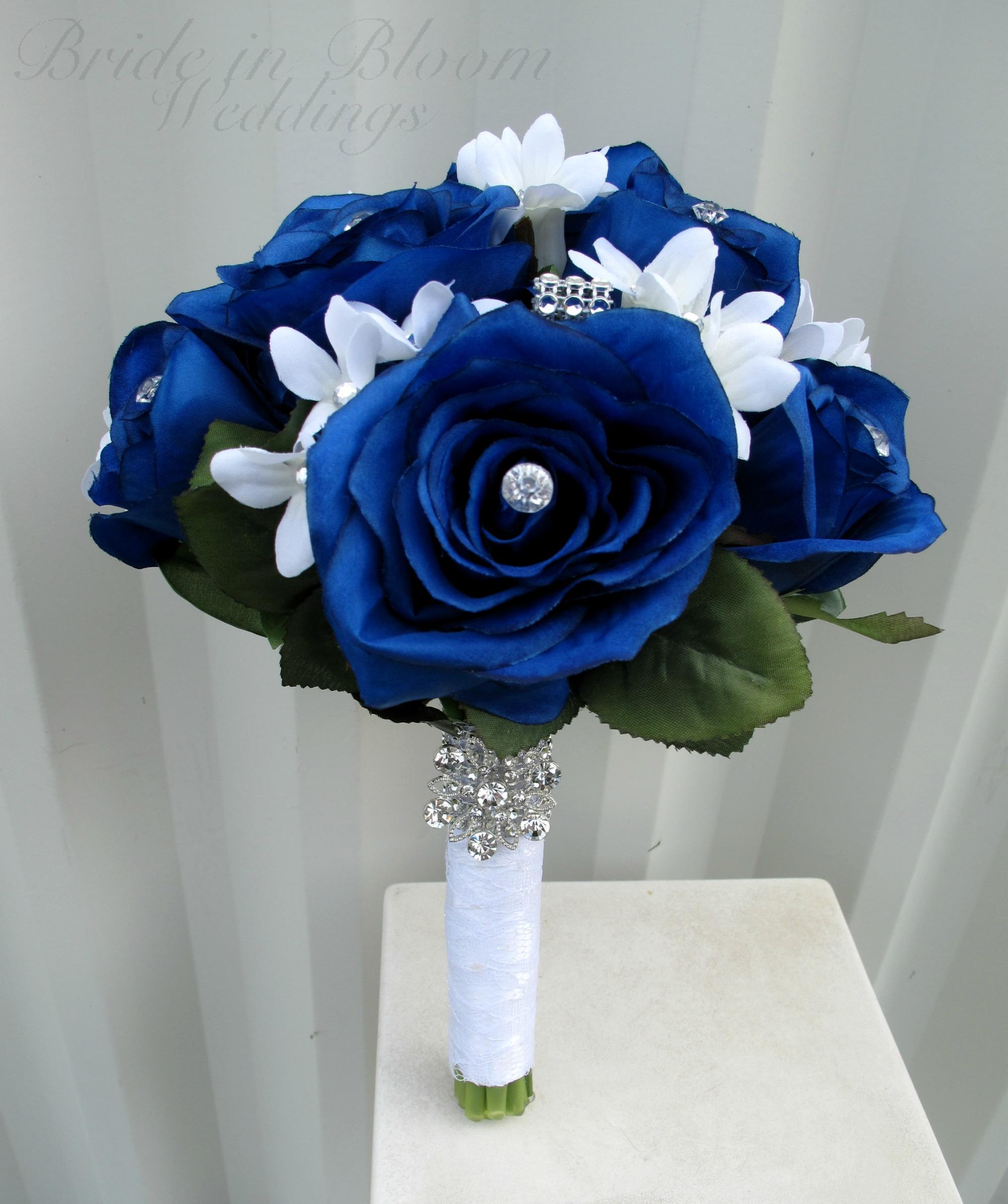Royal Blue Luxury Rhinestone Artificial Bridal Wedding Bouquets Ramo Novia Mariage Bridesmaid Flower Accessoires China