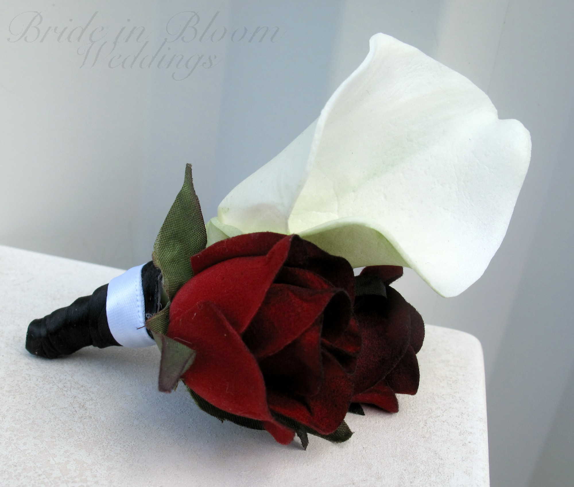 White Calla Lily Red Black Bacarra Rose Boutonniere Bride In Bloom