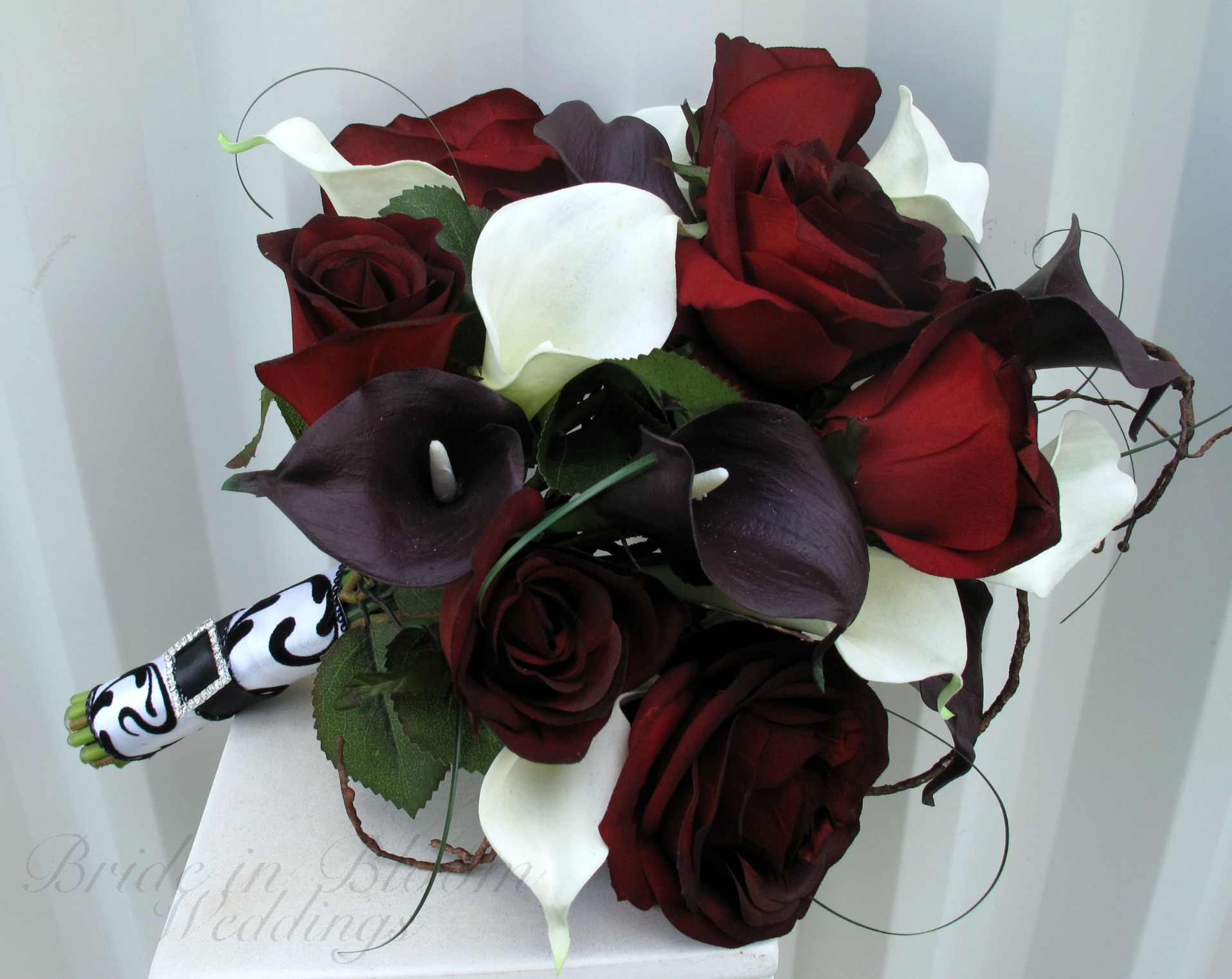 Baccara Rose Calla Lily Wedding Bouquet Black Red White Silk Bridal Flowers