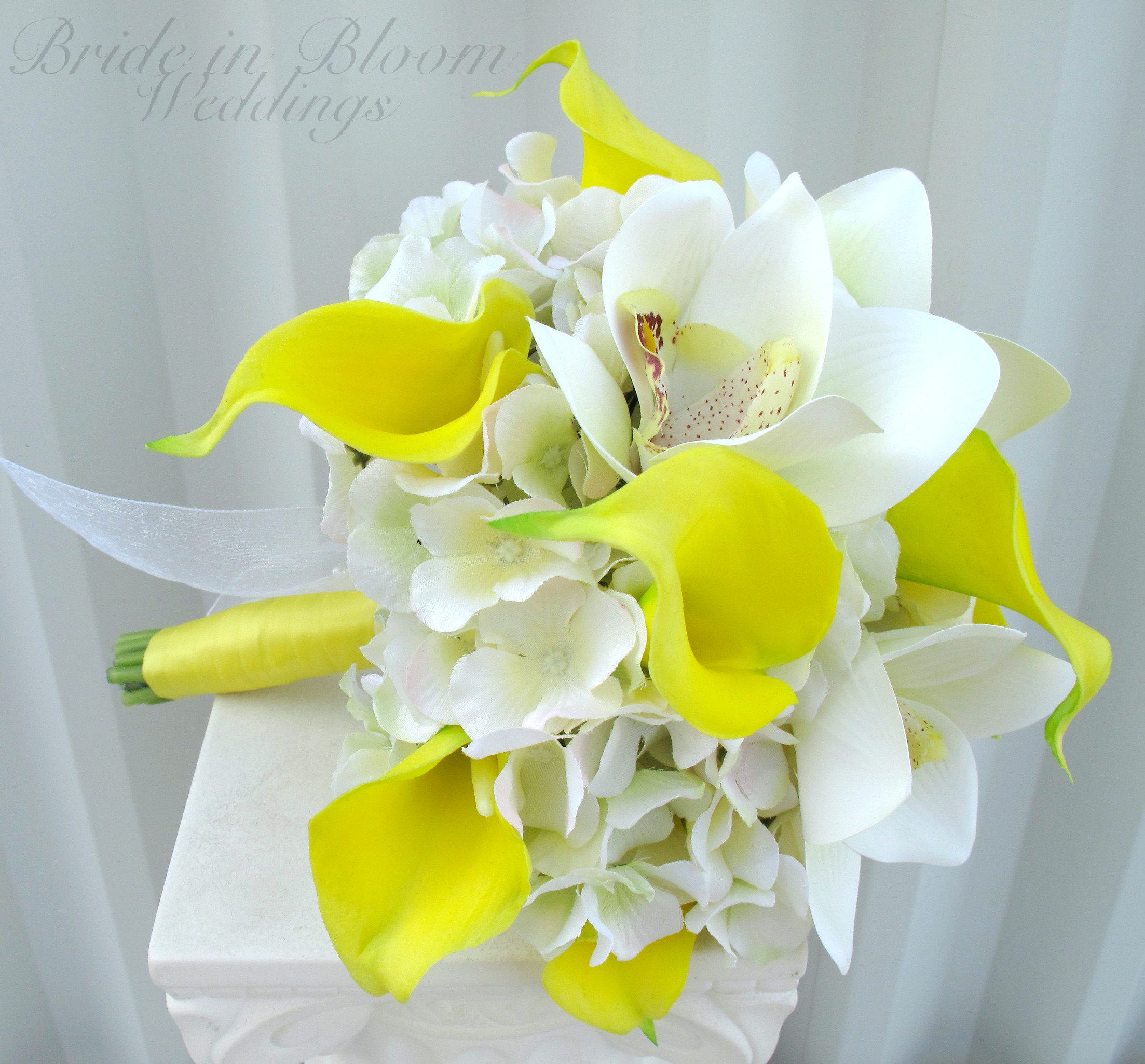 Yellow calla lily orchid wedding bouquet bride in bloom dhlflorist Choice Image