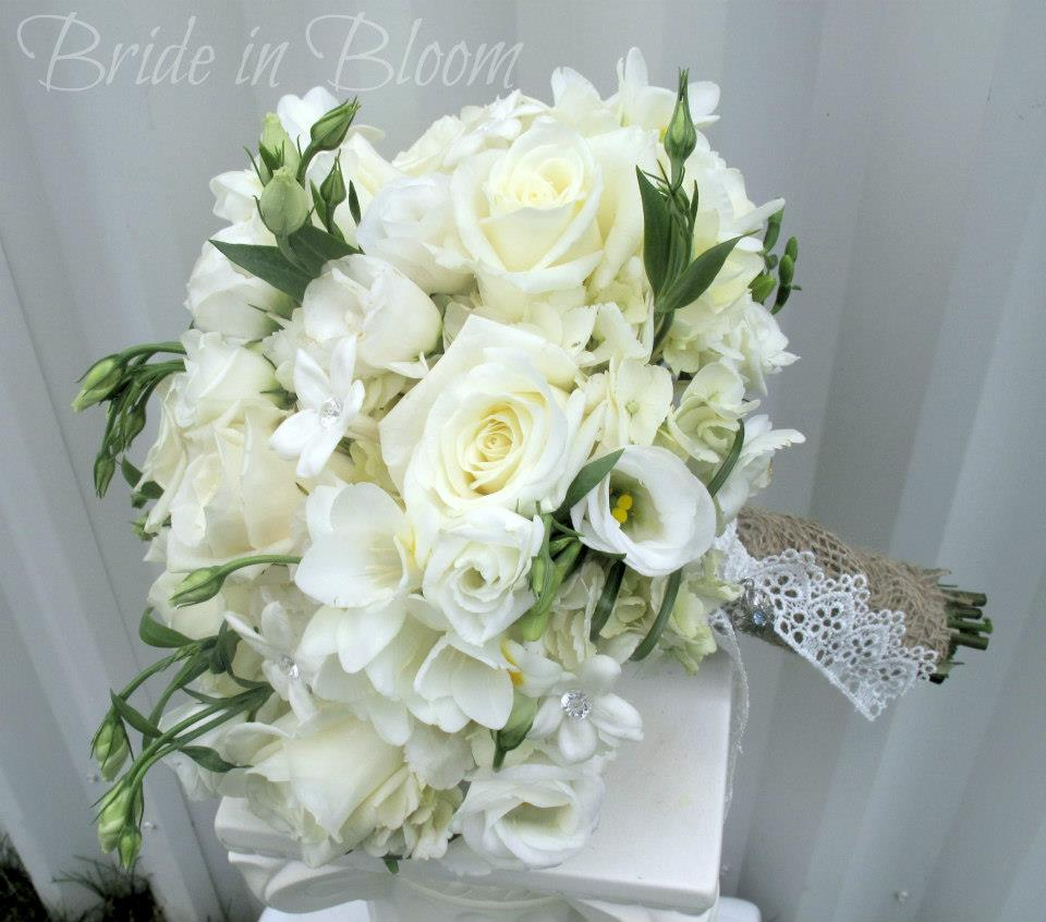 White Calla Orchid Wedding Bouquet Burlap Lace Bride In Bloom