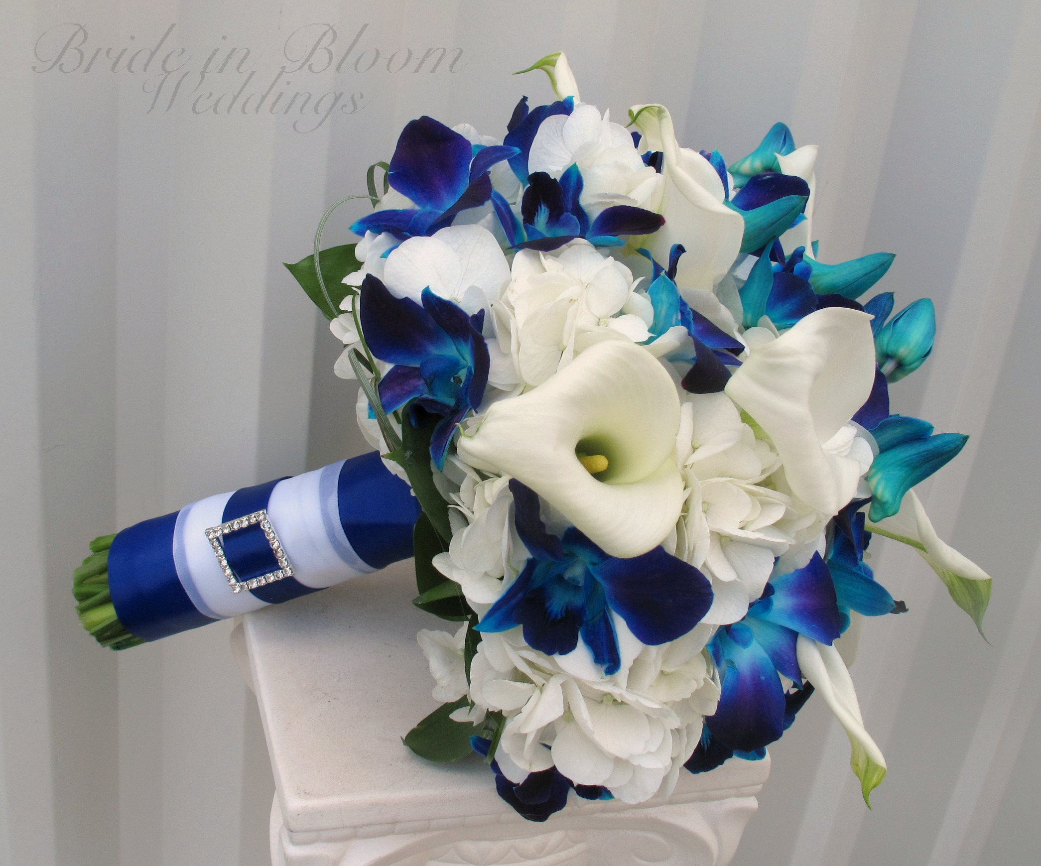 Blue Orchid White Calla Wedding Bouquet Bride In Bloom